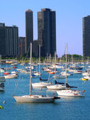 港点和密歇根湖 — 图库照片