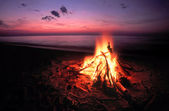 Beach Campfire on Lake Superior — Stock Photo