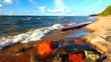 Michigan Lake Superior Beach — Stock Video