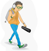 Student in a hurry — Stock Vector