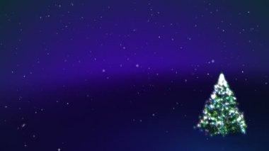 Xmas tree. CG blue background. — Stock Video