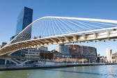 Zubizuri Bridge, Santiago Calatrava in Bilbao, Spain — Stock Photo