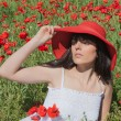 Young girl among poppies — Stock Photo