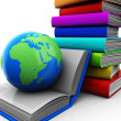 Books with globe — Stock Photo