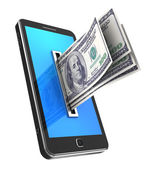 Cellphone with dollars — Stock Photo
