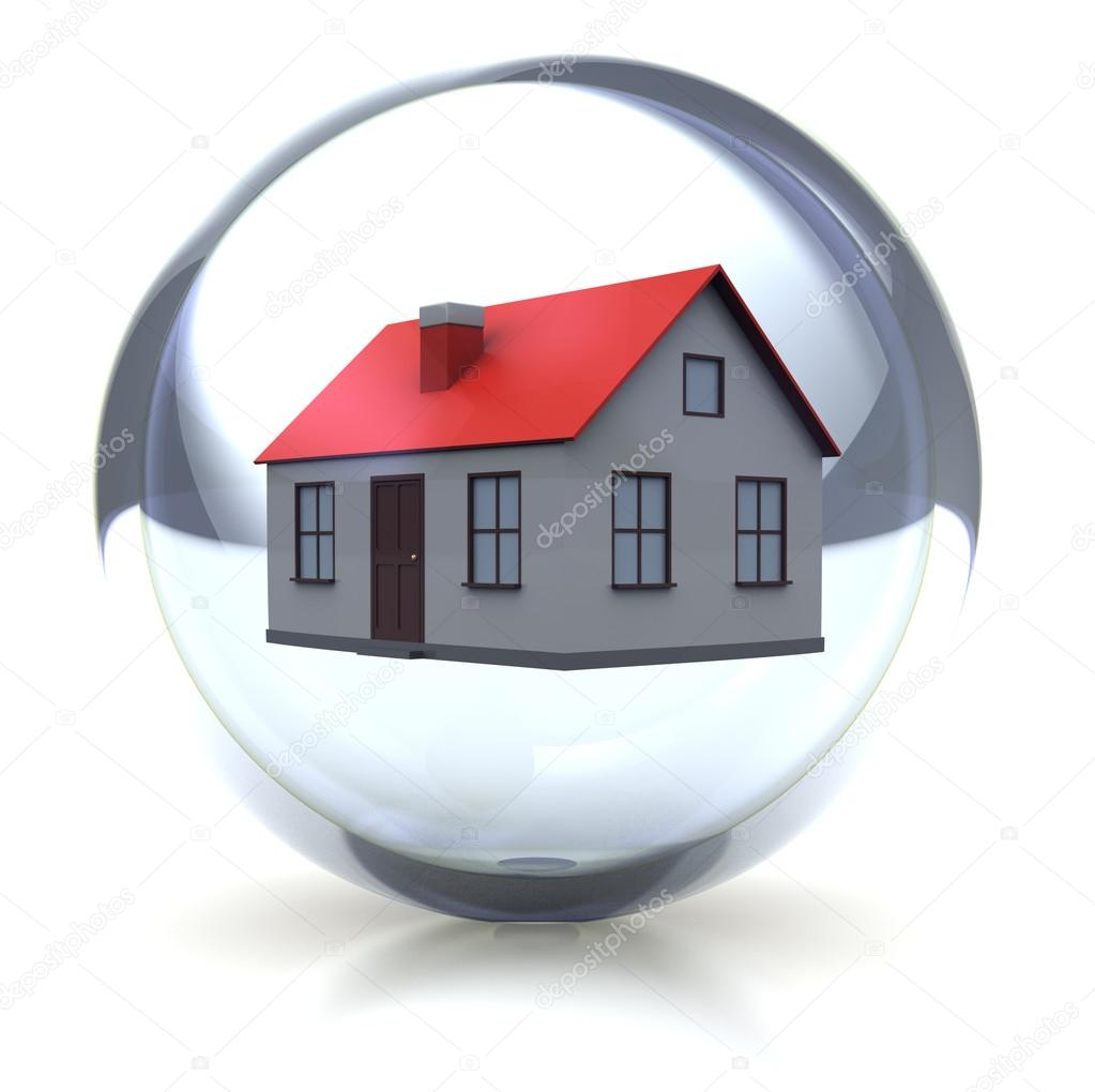 Family concept: house in transparent glossy ball  Stock Photo #12669680
