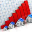 Houses and graph — Stock Photo