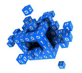 Cube with binary code — Stockfoto