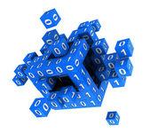 Würfel mit binärcode — Stockfoto