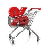 Symbol of percent in cart — Stock Photo