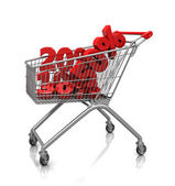 Signs of percent in cart — Stock Photo