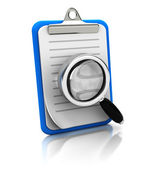 Clipboard with magnifier glass — Stock Photo