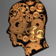 Gears in head — Stock Photo