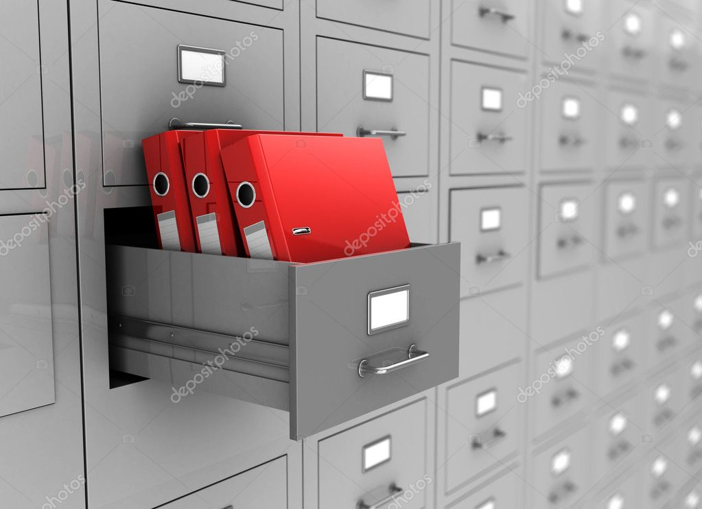 Open box with three red folders, 3d image     Foto Stock #14750287