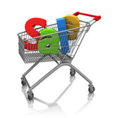 Sale in shopping cart — Stock Photo