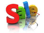 Försäljning och vagn — Stockfoto