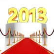 Stock Photo: Red carpet to new year