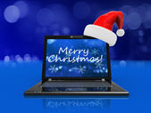 Christmas laptop — Stock Photo