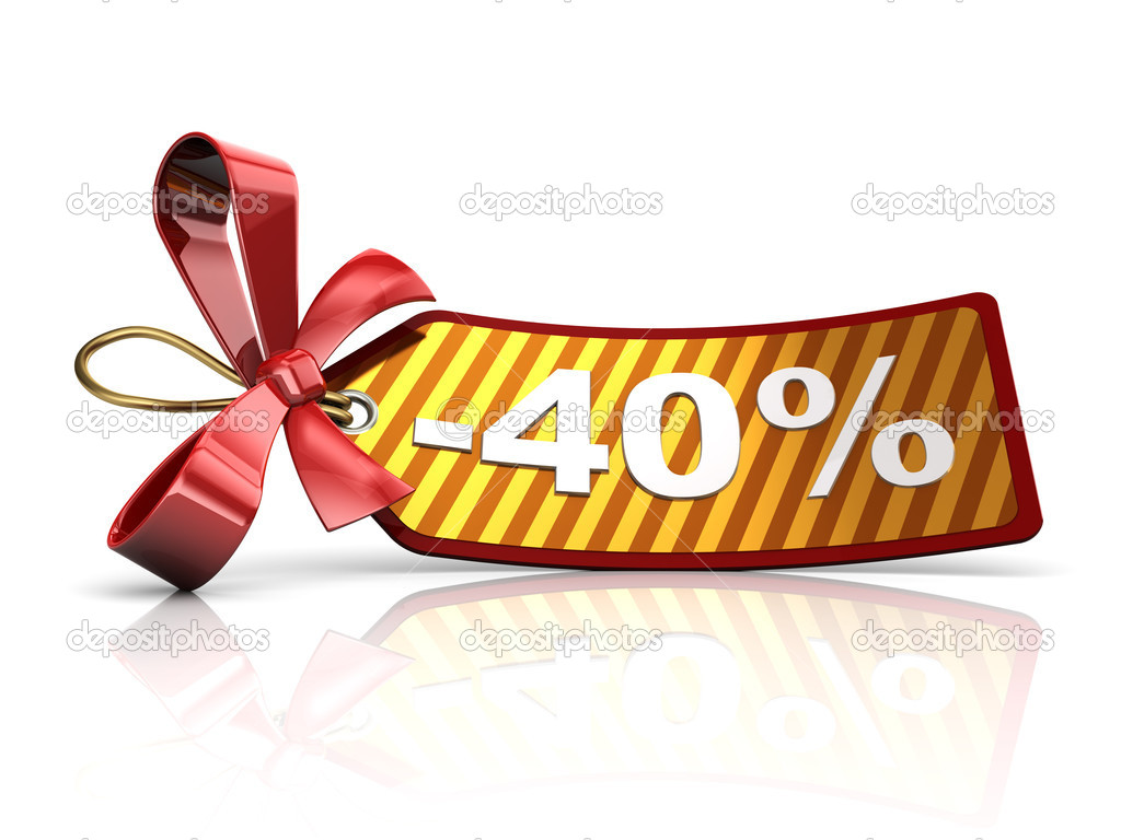3d illustration of christmas sale discount tag, over white background — Stock Photo #17123633