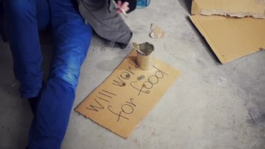 Homeless man — Stock Video