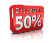 Fifty percent discount — Stockfoto