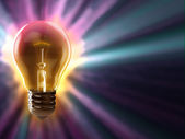 Light bulb colorful background — Stock Photo