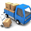 Truck with cardboard boxes — Stockfoto