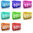Discount icons set - Stock Photo