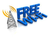 3d illustration of free wi-fi tower — Stock Photo