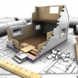 Layout of house and blueprints — Stock Photo #24190297