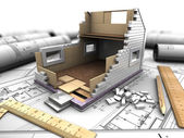 Layout of house and blueprints — Stock Photo