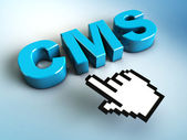 3d hand cursor points to a CMS — Stock Photo