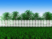 Green field and trees in garden — Stock Photo
