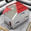 Layout of house with red roof — Stock Photo
