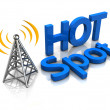 Stock Photo: Wireless antenna hotspot