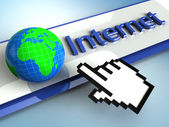 3d illustration hand cursor points to the global Internet — Foto Stock