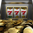 Lucky seven and golden coins — Stock Photo