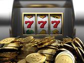 Lucky seven and golden coins — Stock Photo