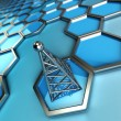 Communications tower and hexagons — Stock Photo
