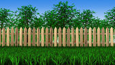 Trees and fence on field — Stock Photo