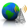 Wireless antenna to the globe — Stock Photo