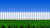 White fence and grass — Stock Photo