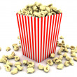 Popcorn in striped box — Stock Photo