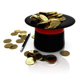Top hat trick with coins — Stock Photo