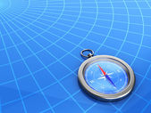 3d compass with a geographical background — Foto Stock