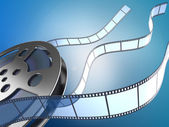 Movie reel and filmstrips — Stock Photo