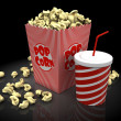 Stock Photo: Popcorn and soda