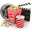 3d cinema objects on white — Stock Photo