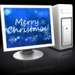 Christmas computer — Stock Photo