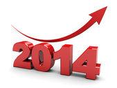 2014 jaar stijgen grafiek — Stockfoto